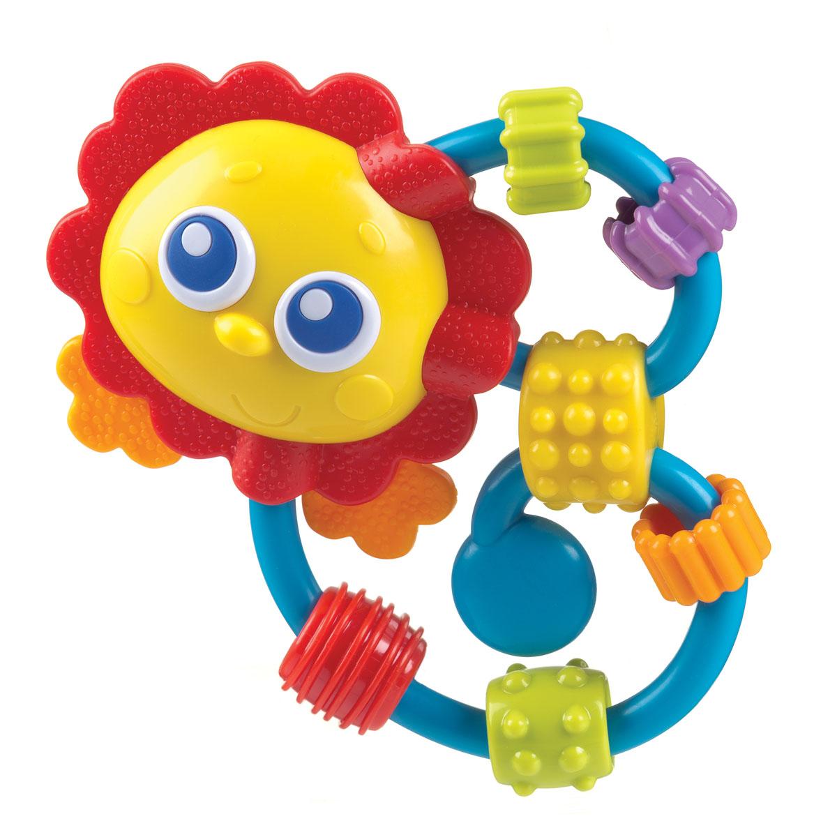 Playgro Игрушка-погремушка 0182514182514Грива льва и лапки изготовлены из мягкого рифленого пластика. На кольца нанизано 6 бусин с рифленой поверхностью, они отличаются между собой по форме цвету и протектору. Перемещая их по колечкам, малыш быстро освоит навыки мелкой моторики, разовьет тактильные ощущения.