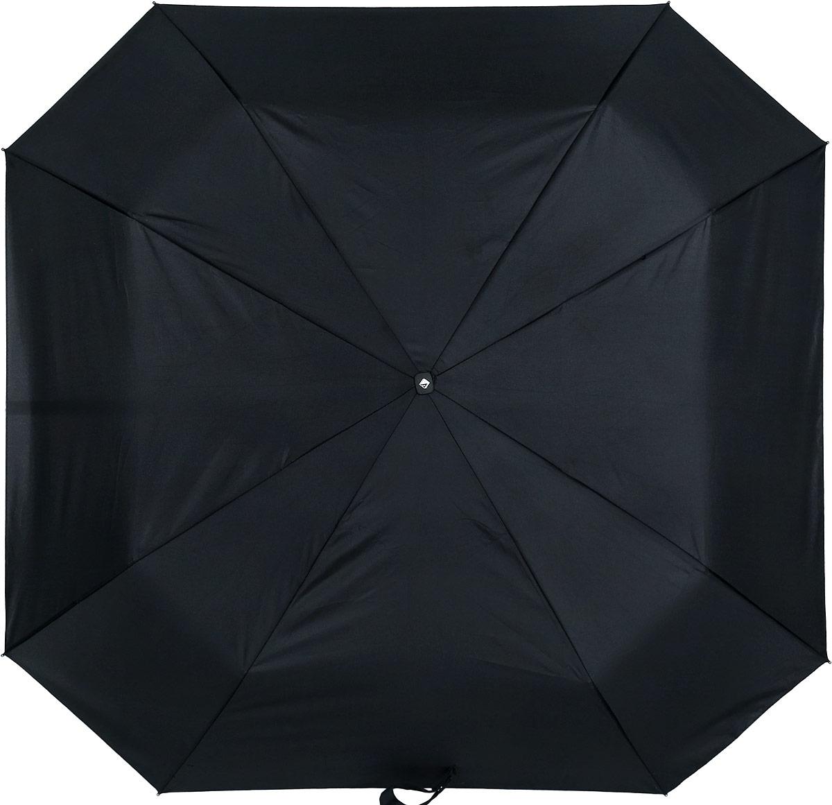 Зонт мужской Flioraj, автомат, 3 сложения, цвет: черный. 010100-Т FJ010100-Т FJПрактичный автоматический зонт Flioraj с квадратным куполом из прочного полиэстера защитит вас в ненастную погоду. Зонт оснащен надежным каркасом с восьмью спицами. Зонт имеет автоматический механизм сложения: купол открывается и закрывается нажатием кнопки на рукоятке, стержень складывается вручную до характерного щелчка, благодаря чему открыть зонт можно одной рукой, что чрезвычайно удобно при выходе из транспорта или помещения. Эргономичная рукоятка из пластика дополнена петлей. К зонту прилагается чехол и фирменная упаковка.