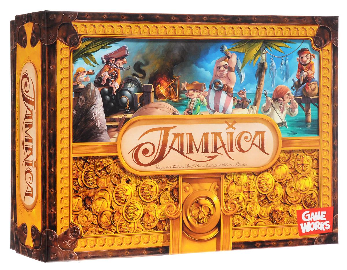 GameWorks Настольная игра Ямайка7640131630030В 1678 году у теплых берегов Ямайки пышным цветом расцвела пиратская вольница. Флибустьеры со всех концов света бросали якоря в Порт-Ройяле, чтобы принять участие в грандиозных морских сражениях и дележе богатой добычи. Среди счастливцев будут и участники настольной игры GameWorks Ямайка. Каждый ход в игре состоит из двух фаз - утра и вечера. Сначала игроки бросают две кости и выбирают, какое значение поставить на утро, а какое на вечер. Затем выбирается карта действий, благодаря которой можно продвинуть свой корабль вперед, отойти назад или пополнить трюмы ресурсами. Количество ресурсов и шагов зависит от результатов броска кубика. На каждой карте имеется утреннее действие и вечернее. В игре три вида ресурсов: золотые дублоны, пушки и еда. Путешествуя по акватории острова, участники должны умело выбирать те ресурсы, которые понадобятся им в ближайшее время. Без еды практически невозможно путешествовать, без дублонов не пришвартуешься в порте (дублоны также дают победные очки...