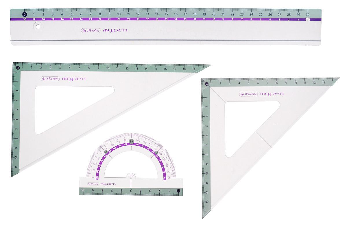 Herlitz Геометрический набор 4 предмета11368222_Геометрический набор Herlitz выполнен из прочного пластика голубого цвета. Набор включает в себя все, что необходимо школьнику: линейку 30 см, транспортир на 180 градусов, два треугольника (19 см, 13 см). Каждый чертежный инструмент имеет свои функциональные особенности, что делает работу с ними особенно удобной и легкой. Набор подходит для правшей и левшей.