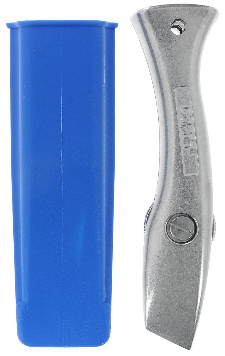 Нож для резки напольных покрытий Romus Дельфин, с футляром292917_Специальный нож Romus Дельфин предназначен для резки напольных покрытий. Выполнен из литого алюминия. Легко открывается при помощи колесика. Поставляется без лезвий, в пластиковом защитном футляре.