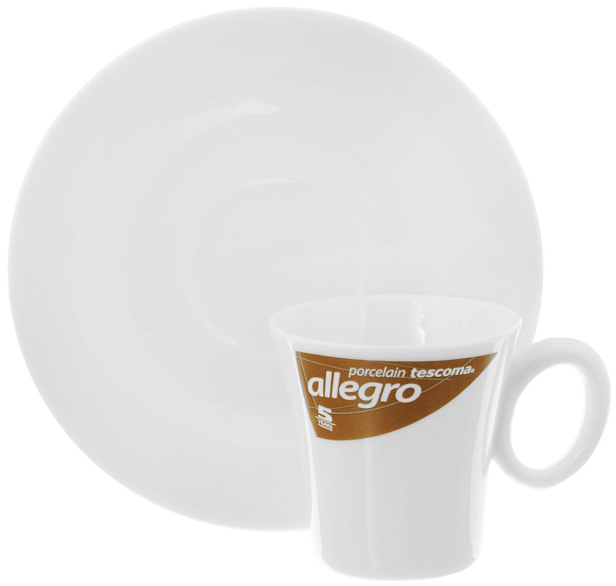 Кофейная пара Tescoma Allegro, цвет: белый, 2 предмета387520Кофейная пара Tescoma Allegro состоит из чашки и блюдца, изготовленных из высококачественного фарфора. Элегантный дизайн, несомненно, придется вам по вкусу. Кофейная пара Tescoma Allegro украсит ваш кухонный стол, а также станет замечательным подарком к любому празднику. Можно использовать в микроволновой печи, холодильнике и посудомоечной машине. Объем чашки: 80 мл. Диаметр чашки (по верхнему краю): 6 см. Диаметр основания чашки: 4 см. Высота чашки: 6 см. Диаметр блюдца: 13 см.