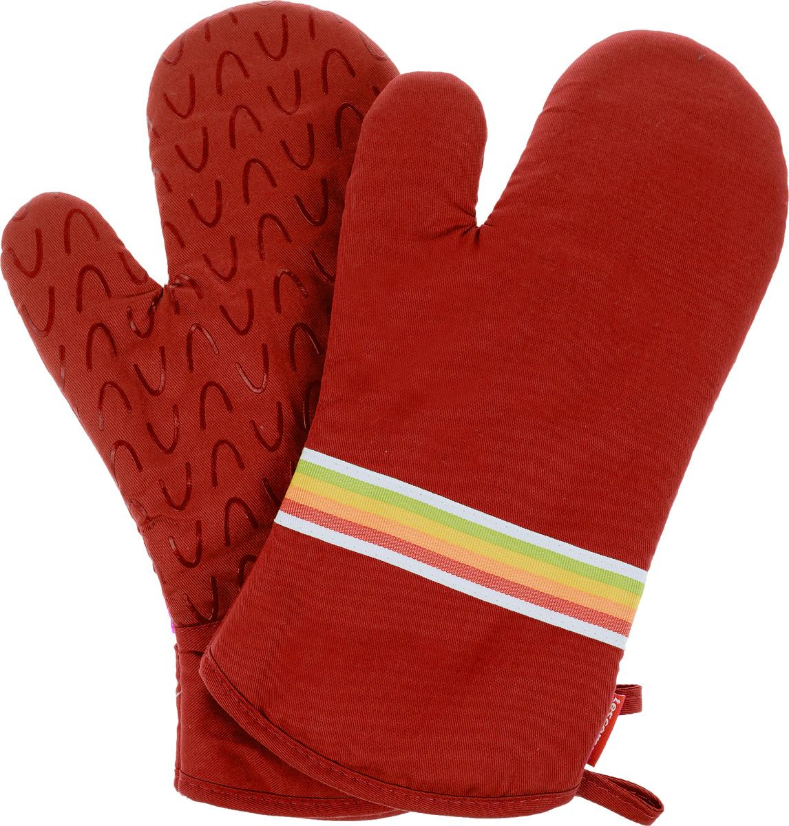 Рукавица-прихватка Tescoma Presto Tone, цвет: красный, 33 х 18 см, 2 шт639751_красныйРукавица-прихватка Tescoma Presto Tone, изготовленная из 100% хлопка и термостойкого силикона, имеет яркий дизайн. Для простоты и удобства хранения, изделие оснащено петелькой для подвешивания и магнитом. Такая прихватка защитит ваши руки от высоких температур и предотвратит появление ожогов. Рекомендуется стирка при температуре 30°С. Размер изделия (ДхШ): 33 х 18 см. Комплектация: 2 шт.