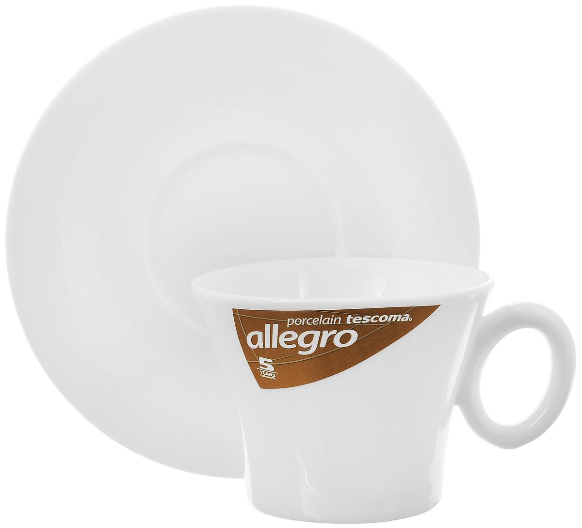 Кофейная пара Tescoma Allegro, цвет: белый, 2 предмета387522Кофейная пара Tescoma Allegro состоит из чашки и блюдца, изготовленных из высококачественного фарфора. Элегантный дизайн, несомненно, придется вам по вкусу. Кофейная пара Tescoma Allegro украсит ваш кухонный стол, а также станет замечательным подарком к любому празднику. Можно использовать в микроволновой печи, холодильнике и посудомоечной машине. Объем чашки: 200 мл. Диаметр чашки (по верхнему краю): 9 см. Диаметр основания чашки: 5,5 см. Высота чашки: 7 см. Диаметр блюдца: 15 см.