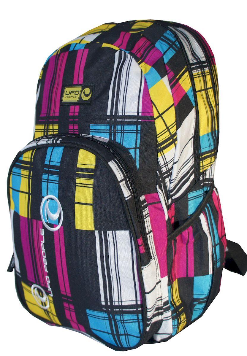 Рюкзак дизайнерский UFO people, цвет: черно-розовый. 19 л. 0361503615Прочный материал. Отделение для ноутбука максимум 15дюймов. Карман-органайзер. Уплотненное дно. Уплотненные лямки и ручка. Светоотражающие шевроны.