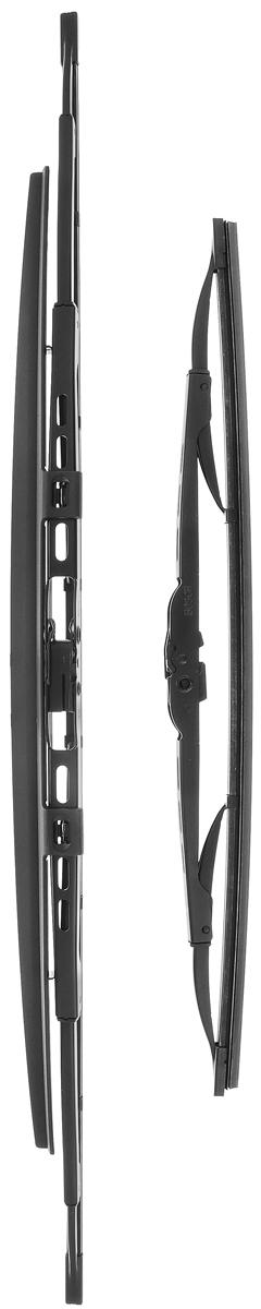 Щетка стеклоочистителя Bosch 601S, каркасная, со спойлером, длина 40/60 см, 2 шт3397010297Комплект Bosch 601S состоит из двух щеток разной длины, выполненных по современной технологии из высококачественных материалов. Они обеспечивает идеальную очистку стекла в любую погоду. TWIN Spoiler - серия классических каркасных щеток со спойлером от компании Bosch. Эти щетки имеют полностью металлический каркас с двойной защитой от коррозии и сверхточный профиль резинового элемента с двумя чистящими кромками. Спойлер выполнен в виде крыла, который закрывает каркас щетки от воздушного потока. Комплектация: 2 шт. Длина щеток: 40 см; 60 см.