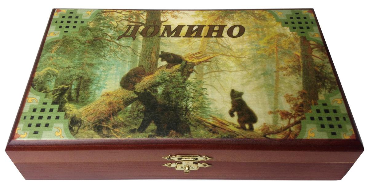 Домино в шкатулке Саванна Мишки, 20х12х5 см. d-003d-003Домино в деревянной шкатулке (размер костяшки 50х25 мм). Материал: береза, хвойные сорта