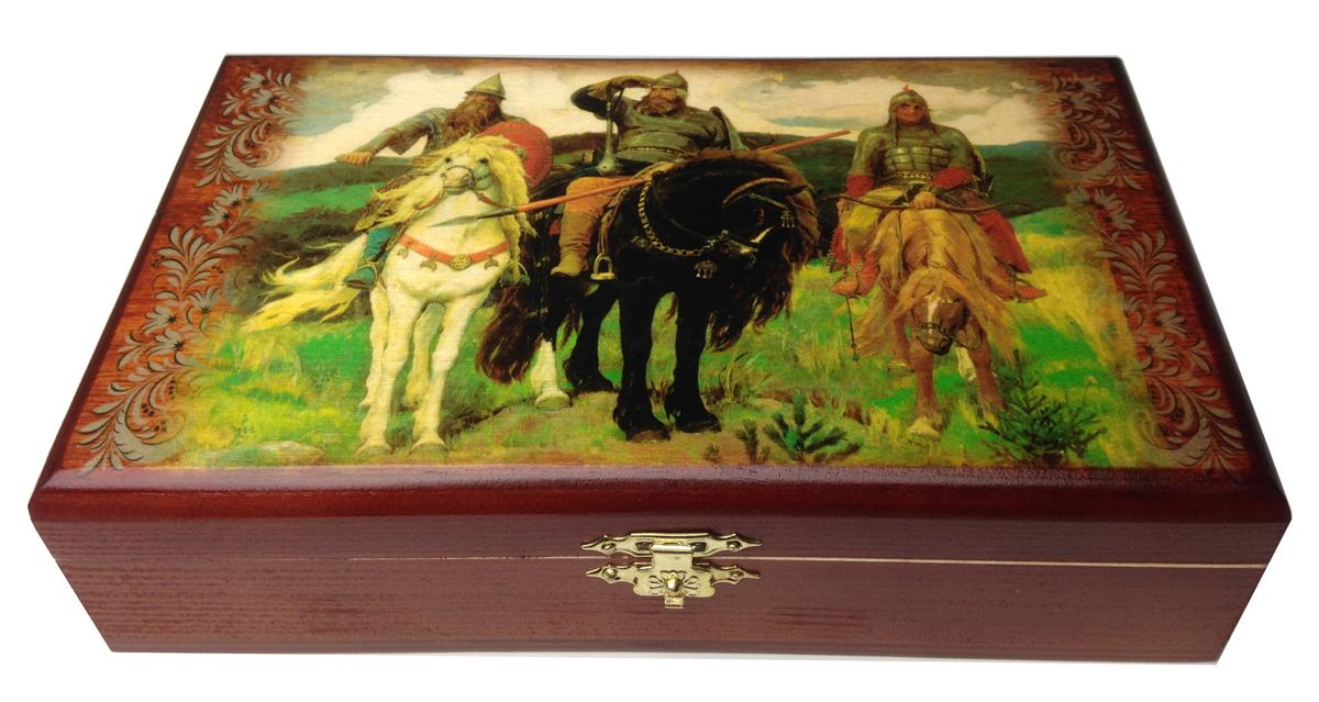 Домино в шкатулке Саванна Три богатыря, 20х12х5 см. d-004d-004Домино в деревянной шкатулке (размер костяшки 50х25 мм). Материал: береза, хвойные сорта