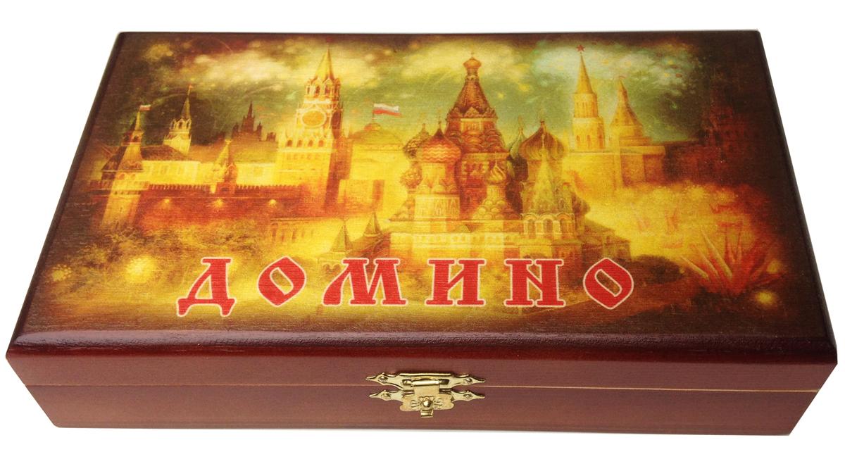 Домино в шкатулке Саванна Кремль, 20х12х5 см. d-005d-005Домино в деревянной шкатулке (размер костяшки 50х25 мм). Материал: береза, хвойные сорта