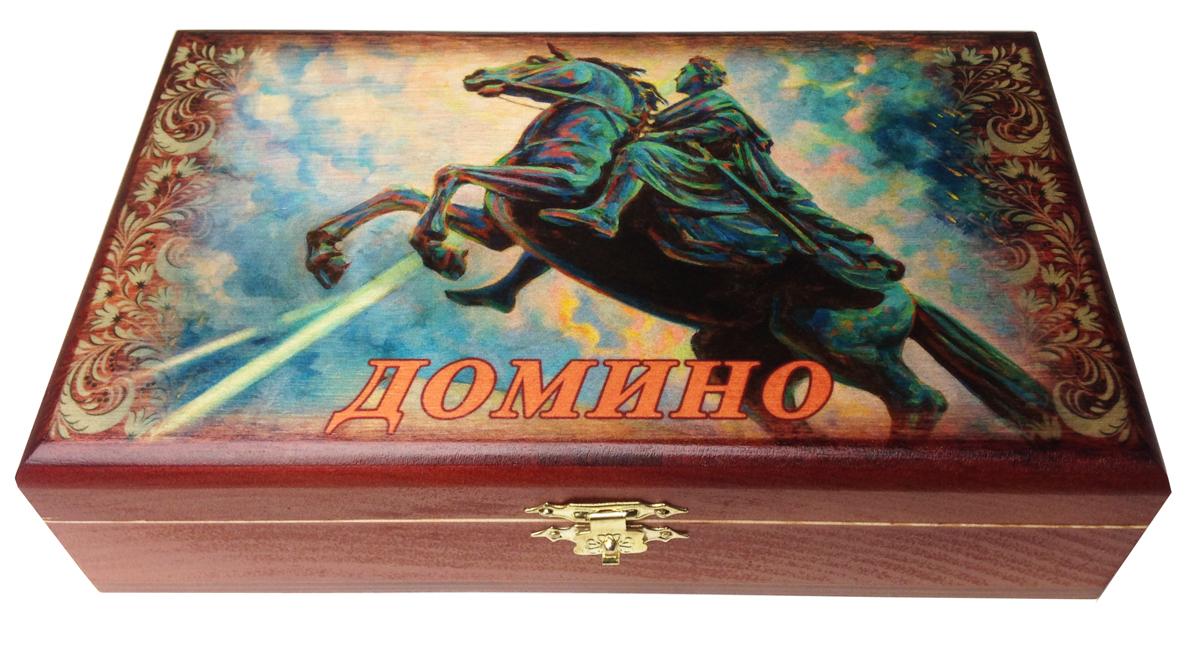 Домино в шкатулке Саванна Медный всадник, 20х12х5 см. d-007d-007Домино в деревянной шкатулке (размер костяшки 50х25 мм). Материал: береза, хвойные сорта
