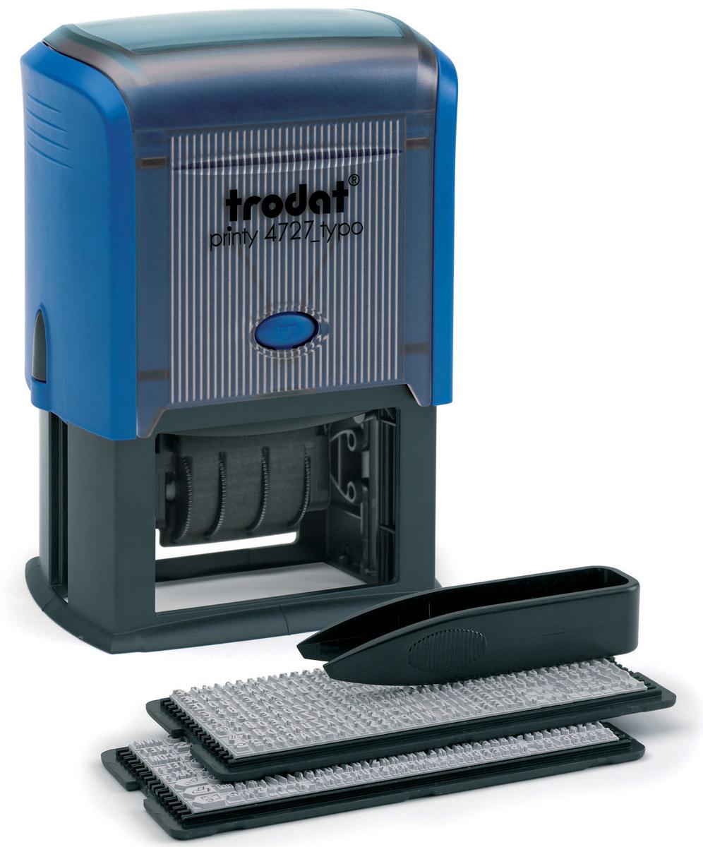 Trodat Датер самонаборный шестистрочный Typo месяц прописью4727/DBДатер самонаборный шестистрочный Trodat Typo имеет прочный пластиковый корпус с автоматическим окрашиванием. Дата указывается в центре, сверху и снизу строки для набора текста без рамки. В комплект также входят пинцет, касса символов 6005, касса 6006, сменная штемпельная подушка. Изделие подходит для работы в бухгалтерии, на складе, в банке. Максимальный размер - 60 х 40 мм. Максимальное количество знаков в строке основного шрифта - 36, шрифта для выделения текста - 25. Максимальное количество строк - 6 плюс дата. Месяц указывается прописью.