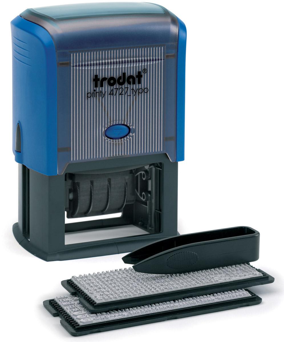 Trodat Датер самонаборный шестистрочный Typo месяц цифрами4727/DB/BДатер самонаборный шестистрочный Trodat Typo имеет прочный пластиковый корпус с автоматическим окрашиванием. Дата указывается в центре, сверху и снизу строки для набора текста без рамки. В комплект также входят пинцет, касса символов 6005, касса 6006, сменная подушка. Изделие подходит для работы в бухгалтерии, на складе, в банке. Максимальный размер - 60 мм х 40 мм. Максимальное количество знаков в строке основного шрифта - 36, шрифта для выделения текста - 25. Максимальное количество строк - 6 плюс дата. Месяц указывается цифрами.