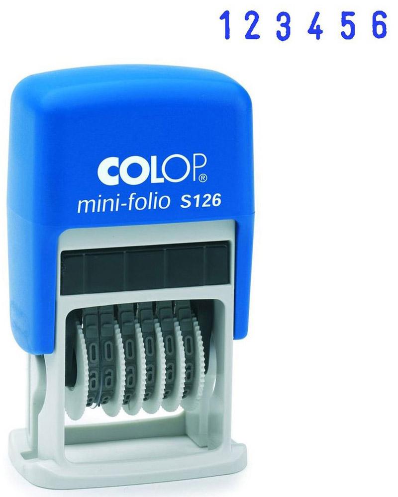 Colop Мини-нумератор шестиразрядный S126S126Мини-нумератор шестиразрядный Colop S126 имеет пластиковый корпус с автоматическим окрашиванием. Установка номера происходит с помощью колесиков. Используется для нумерации документов, проставления артикулов, цен и другого. Высота цифр - 3,8 мм, имеет 6 разрядов.