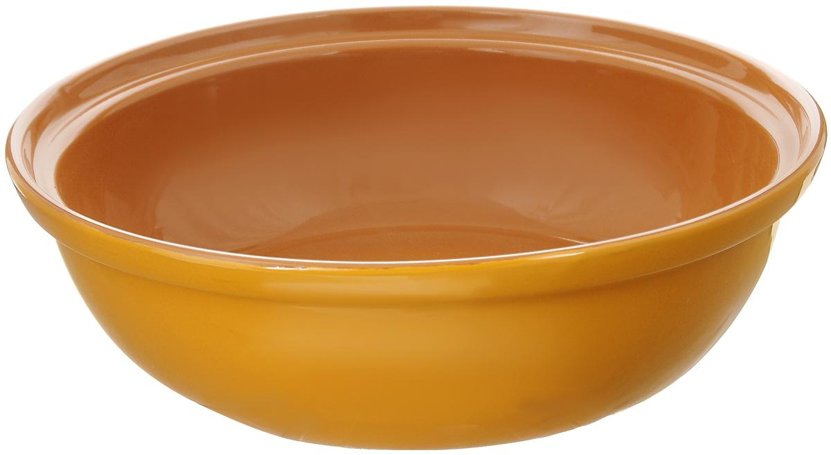 Салатник Борисовская керамика Модерн, цвет: желтый, светло-коричневый, 2,5 лРАД00001012_желтыйСалатник Борисовская керамика Модерн выполнен из высококачественной глазурованной керамики. Этот большой и вместительный салатник придется по вкусу любителям здоровой и полезной пищи. Благодаря современной удобной форме, изделие многофункционально и может использоваться хозяйками на кухне как в виде салатника, так и для запекания продуктов, с последующим хранением в нем приготовленной пищи. Посуда термостойкая. Можно использовать в духовке и микроволновой печи. Диаметр (по верхнему краю): 28,5 см. Высота стенки: 8,5 см.
