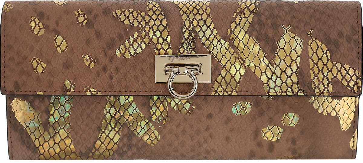 Кошелек женский Piero, цвет: кофе. ЖКГ1501640_10ЖКГ1501640_10Стильный женский кошелек Piero выполнен из натуральной кожи с тиснением под рептилию и украшен золотым рисунком. Кошелек содержит два отделения для купюр, три открытых кармана, карман на молнии для мелочи и 9 кармашков для визиток и карт. На задней стороне расположен дополнительный открытый карман. Изделие закрывается на замок-фиксатор. Кошелек упакован в фирменную коробку с логотипом бренда. Такой функциональный аксессуар станет замечательным подарком человеку, ценящему качественные и практичные вещи.