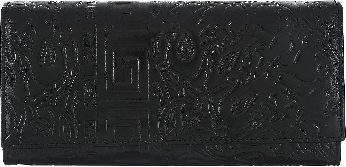 Портмоне женское Piero, цвет: черный. 42М3_90117_13_П_142М3_90117_13_П_1Стильное женское портмоне Piero изготовлено из натуральной кожи с декоративным тиснением. Портмоне содержит три отделения для купюр, одно отделение на молнии для мелочи, восемь прорезных боковых кармана для визиток и карт, один карман с пластиковым окошком и отдельный карман с рамочным замком, который состоит из двух отделений для купюр. Портмоне закрывается на крышку с кнопкой. Портмоне упаковано в плотную коробку с логотипом фирмы. Такой функциональный аксессуар станет замечательным подарком человеку, ценящему качественные и практичные вещи.