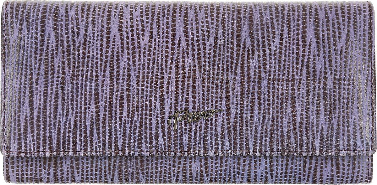 Кошелек женский Piero, цвет: фиолетовый. ЖКГ1501050_46ЖКГ1501050_46Стильный женский кошелек Piero выполнен из натуральной кожи с декоративным тиснением. Внутри расположены три отделения для купюр, карман на молнии для мелочи, восемь карманов для визиток и карт, один карман с пластиковым окошком, скрытый карман и отделение с рамочным замком с перегородкой внутри. Закрывается изделие клапаном на кнопку. Кошелек упакован в фирменную коробку с логотипом бренда. Такой функциональный аксессуар станет замечательным подарком человеку, ценящему качественные и практичные вещи.