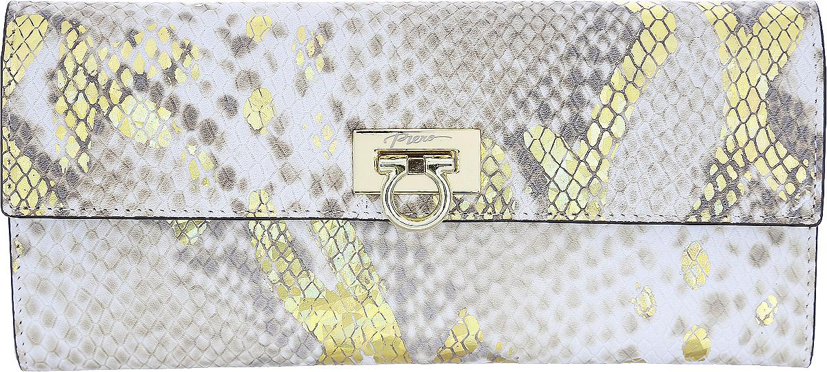 Кошелек женский Piero, цвет: бежевый. ЖКГ1501640_7ЖКГ1501640_7Стильный женский кошелек Piero выполнен из натуральной кожи с декоративным тиснением под рептилию и украшен золотым рисунком. Кошелек содержит два отделения для купюр, три открытых кармана, карман на молнии для мелочи и 9 кармашков для визиток и карт. На задней стороне расположен дополнительный открытый карман. Изделие закрывается на замок-фиксатор. Кошелек упакован в фирменную коробку с логотипом бренда. Такой функциональный аксессуар станет замечательным подарком человеку, ценящему качественные и практичные вещи.