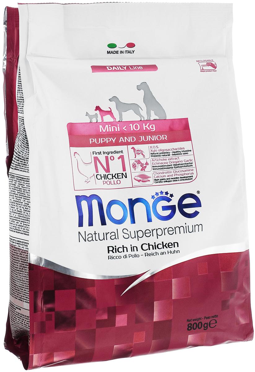 Корм сухой Monge для щенков мелких пород, с курицей, 800 г70004107Сухой корм Monge - это полноценный корм, предназначенный для щенков мелких пород (вес до 10 кг) в возрасте от 2 до 12 месяцев, а также для беременных и кормящих собак. Высокоэнергетический корм содержит оптимальное соотношение белков и углеводов, необходимое во время активного роста. Благодаря содержанию глюкозамина и хондроитина корм способствует развитию здоровых суставов и гармоничному развитию скелета. Состав сбалансирован по соотношению жирных кислот Омега-3 и Омега-6. Товар сертифицирован.