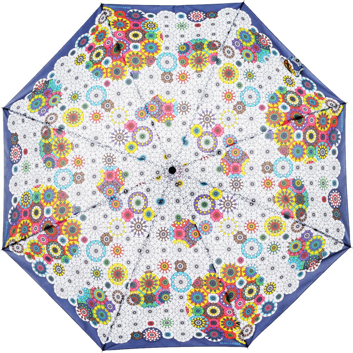 Зонт женский Eleganzza, автомат, 3 сложения, цвет: синий. A3-05-0306LSA3-05-0306LSЖенский зонт-автомат торговой марки ELEGANZZA с каркасом Smart, который позволяет без особых усилий складывать зонт, не позволяя стержню вылетать обратно. Купол: 100% полиэстер, эпонж. Материал каркаса: сталь + алюминий + фибергласс. Материал ручки: пластик. Длина изделия - 30 см. Диаметр купола - 105 см. Система Smart, не позволяет стержню при сложении вылететь обратно, это облегчает сложение зонта! При сложении есть характерный звук-треск, как трещетка. Примечание: зонт не откроется с кнопки если его не закрыть до щелчка!