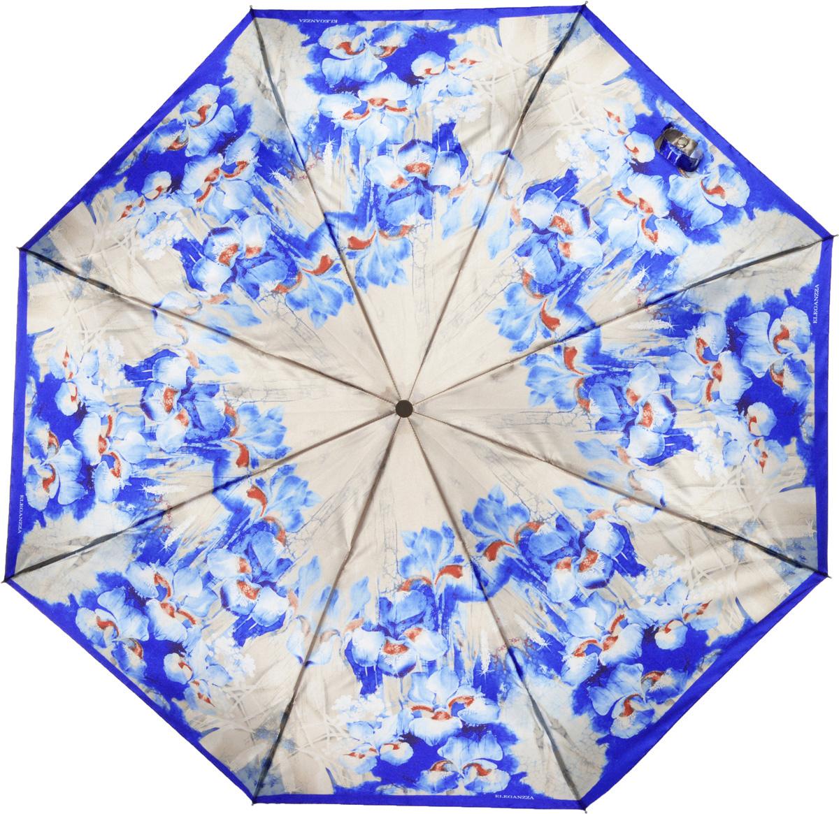 Зонт женский Eleganzza, автомат, 3 сложения, цвет: синий. A3-05-0303LSA3-05-0303LSЖенский зонт-автомат торговой марки ELEGANZZA с каркасом Smart, который позволяет без особых усилий складывать зонт, не позволяя стержню вылетать обратно. Купол: 100% полиэстер, сатин. Материал каркаса: сталь + алюминий + фибергласс. Материал ручки: пластик. Длина изделия - 30 см. Диаметр купола - 105 см. Система Smart, не позволяет стержню при сложении вылететь обратно, это облегчает сложение зонта! При сложении есть характерный звук-треск, как трещетка. Примечание: зонт не откроется с кнопки если его не закрыть до щелчка!