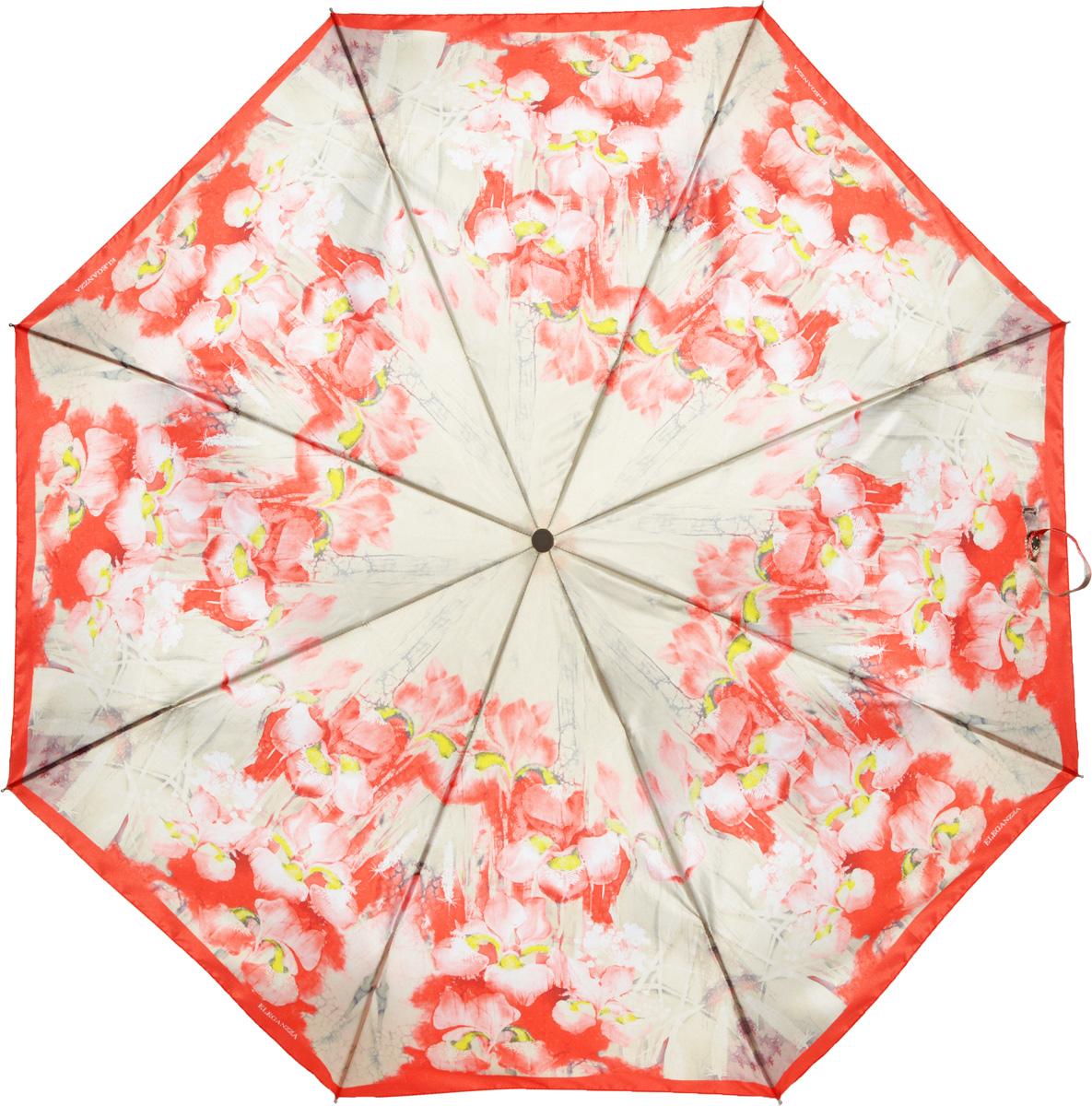 Зонт женский Eleganzza, автомат, 3 сложения, цвет: красный. A3-05-0303LSA3-05-0303LSЖенский зонт-автомат торговой марки ELEGANZZA с каркасом Smart, который позволяет без особых усилий складывать зонт, не позволяя стержню вылетать обратно. Купол: 100% полиэстер, сатин. Материал каркаса: сталь + алюминий + фибергласс. Материал ручки: пластик. Длина изделия - 30 см. Диаметр купола - 105 см. Система Smart, не позволяет стержню при сложении вылететь обратно, это облегчает сложение зонта! При сложении есть характерный звук-треск, как трещетка. Примечание: зонт не откроется с кнопки если его не закрыть до щелчка!