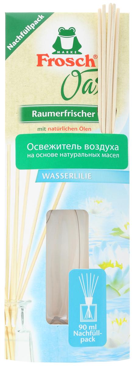 Ароматизатор воздуха Frosch Водяная лилия, сменный блок, 90 мл1101687Ароматизатор воздуха Frosch Водяная лилия представляет собой чувственное вдохновение от природы в пластиковом пакете. Натуральный ненавязчивый аромат благотворно влияет на микроклимат в помещении, вызывает приятные воспоминания и пробуждает чувства. Аромат лилии обладает успокаивающим эффектом и способствует расслаблению. Палочки изготовлены из натуральной древесины. Способ применения: отрежьте край пакета ножницами и перелейте в уже имеющийся стеклянный флакон, затем вставьте палочки. Чем больше деревянных палочек вы используете, тем интенсивней аромат в комнате. Товар сертифицирован.