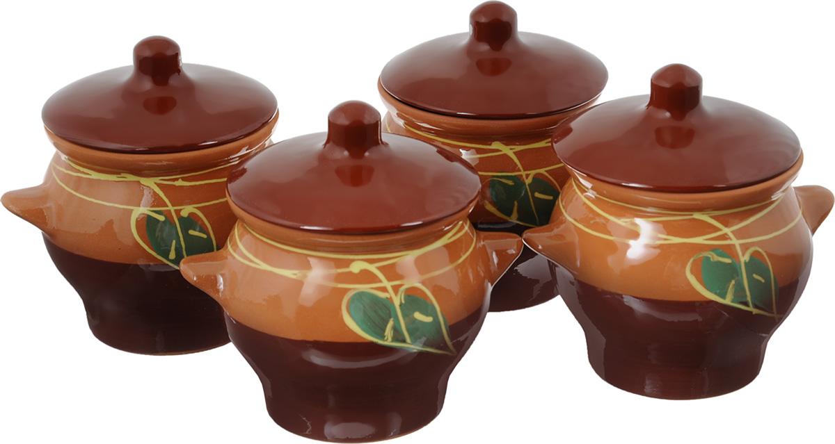 Набор горшочков для запекания Борисовская керамика Престиж, цвет: светло-коричневый, коричневый, зеленый, 700 мл, 4 штОБЧ14431_светло-коричневый, коричневыйНабор Борисовская керамика Престиж состоит из 4 горшочков для запекания с крышками. Каждый предмет набора выполнен из высококачественной керамики. Уникальные свойства красной глины и толстые стенки изделия обеспечивают эффект русской печи при приготовлении блюд. Блюда, приготовленные в керамическом горшке, получаются нежными и сочными. Вы сможете приготовить мясо, сделать томленые овощи и все это без капли масла. Это один из самых здоровых способов готовки. К набору прилагается красочная картонная подложка. Можно использовать в духовке и микроволновой печи. Диаметр горшка (по верхнему краю): 11 см. Высота стенок: 11 см. Объем: 700 мл.