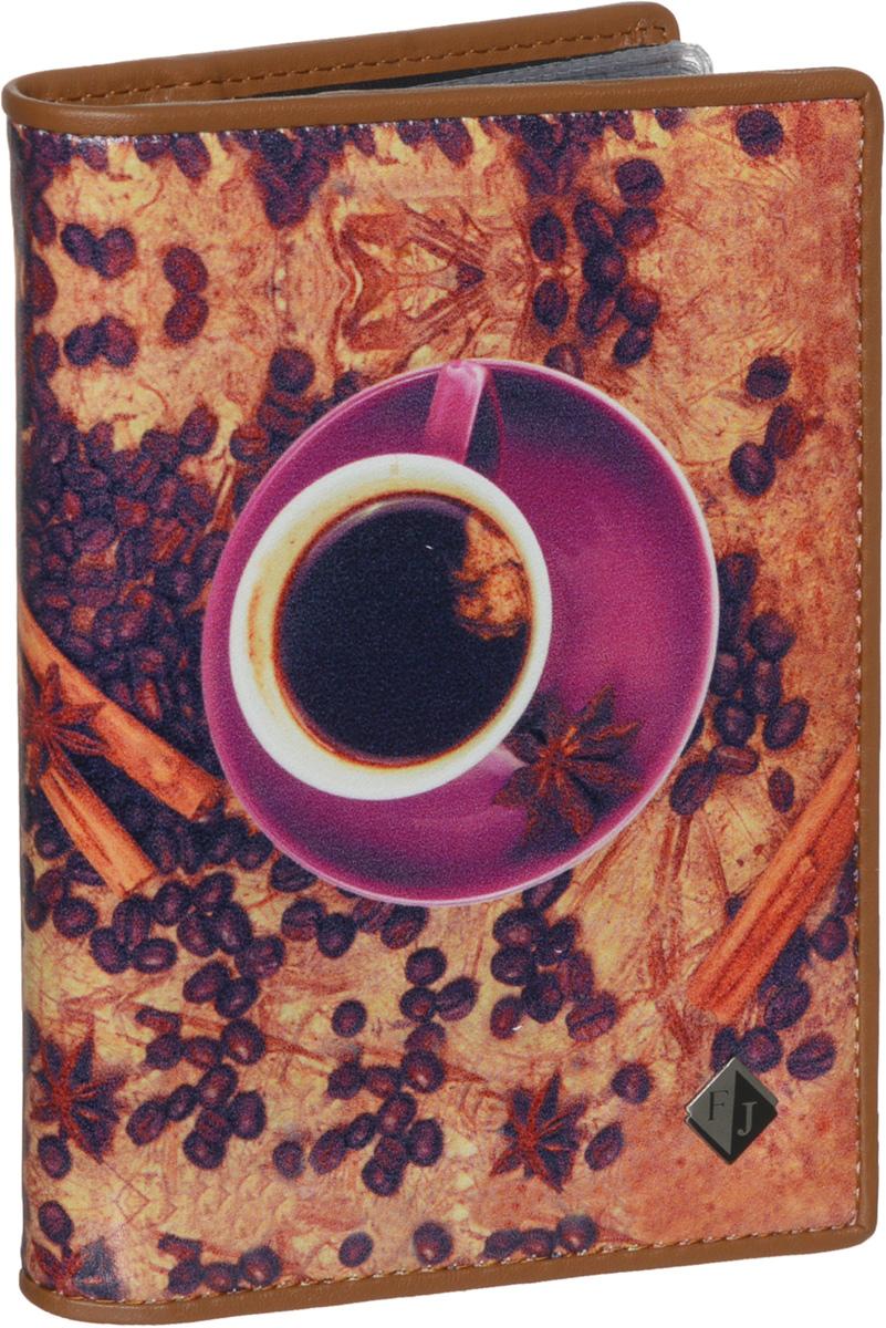 Обложка для паспорта и автодокументов женская Flioraj, цвет: коричневый, сиреневый. 136-Coffeebeans