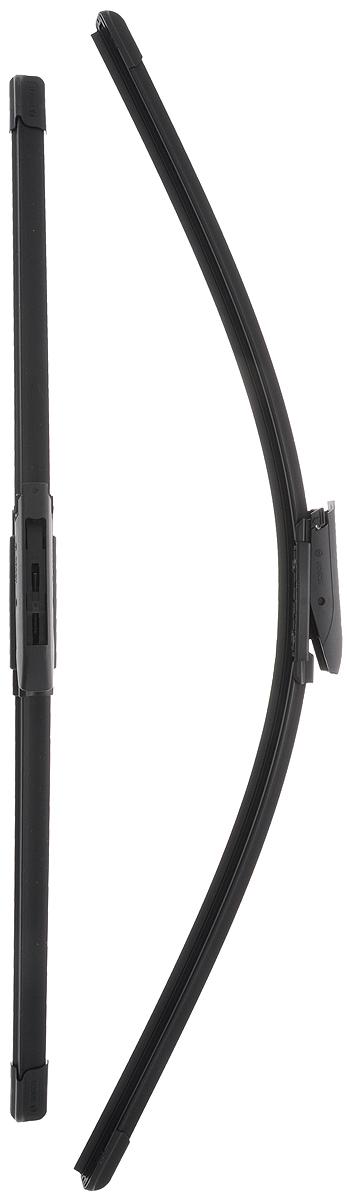 Щетка стеклоочистителя Bosch A117S, бескаркасная, со спойлером, длина 55/65 см, 2 шт3397007117Комплект Bosch A117S состоит из двух бескаркасных щеток разного размера. Щетки выполнены по современной технологии из высококачественных материалов и предназначены для установки на переднее стекло автомобиля. Отличаются высоким качеством исполнения и оптимально подходят для замены оригинальных щеток, установленных на конвейере. Обеспечивают качественную очистку стекла в любую погоду. AEROTWIN - серия бескаркасных щеток компании Bosch. Щетки имеют встроенный аэродинамический спойлер, что делает их эффективными на высоких скоростях, и изготавливаются из многокомпонентной резины с применением натурального каучука. Комплектация: 2 шт.