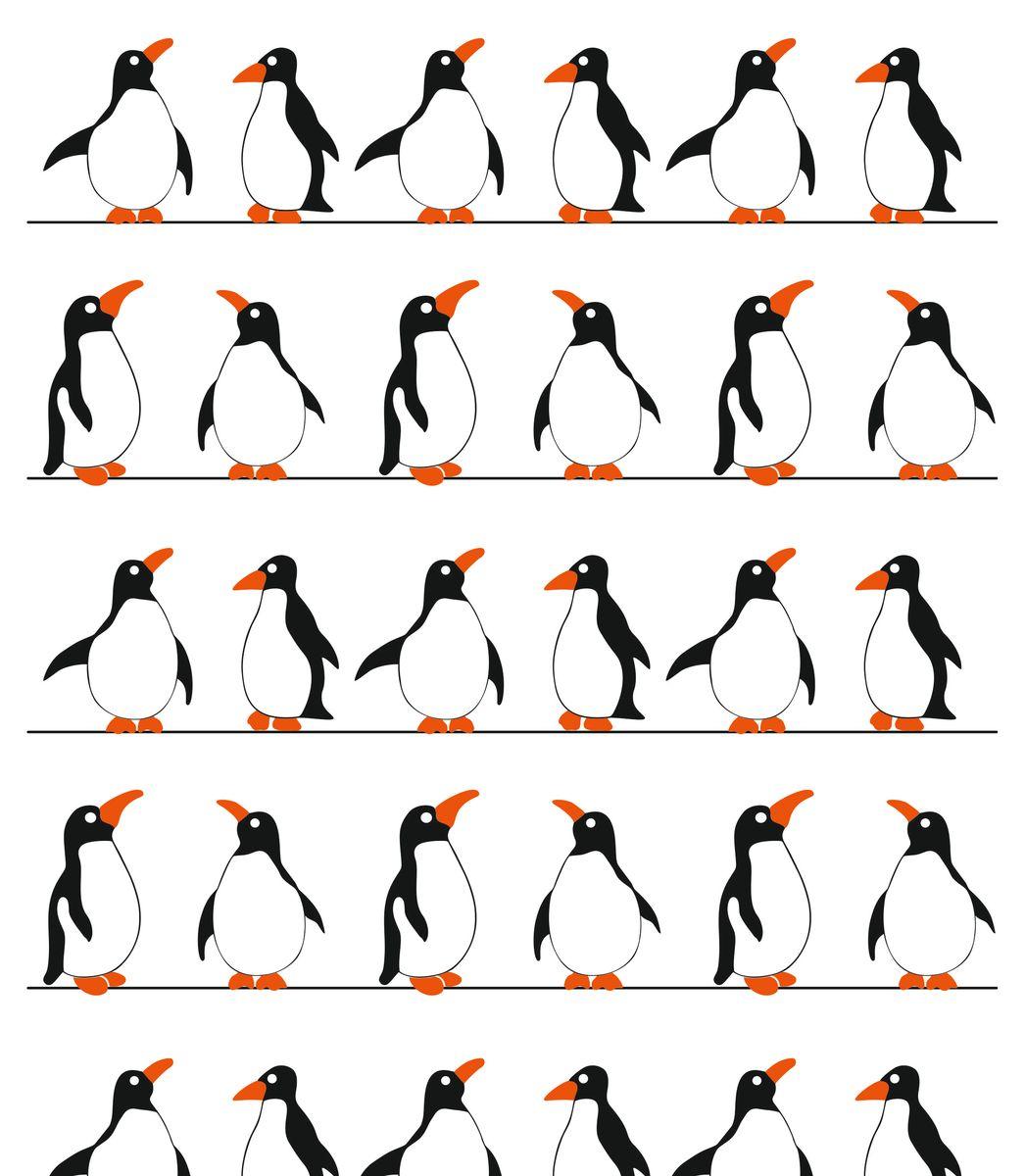 Штора для ванной комнаты Vanstore Пингвины, цвет: белый, черный, оранжевый, 180 х 180 см штора для ванной комнаты vanstore zober цвет белый 180 х 180 см