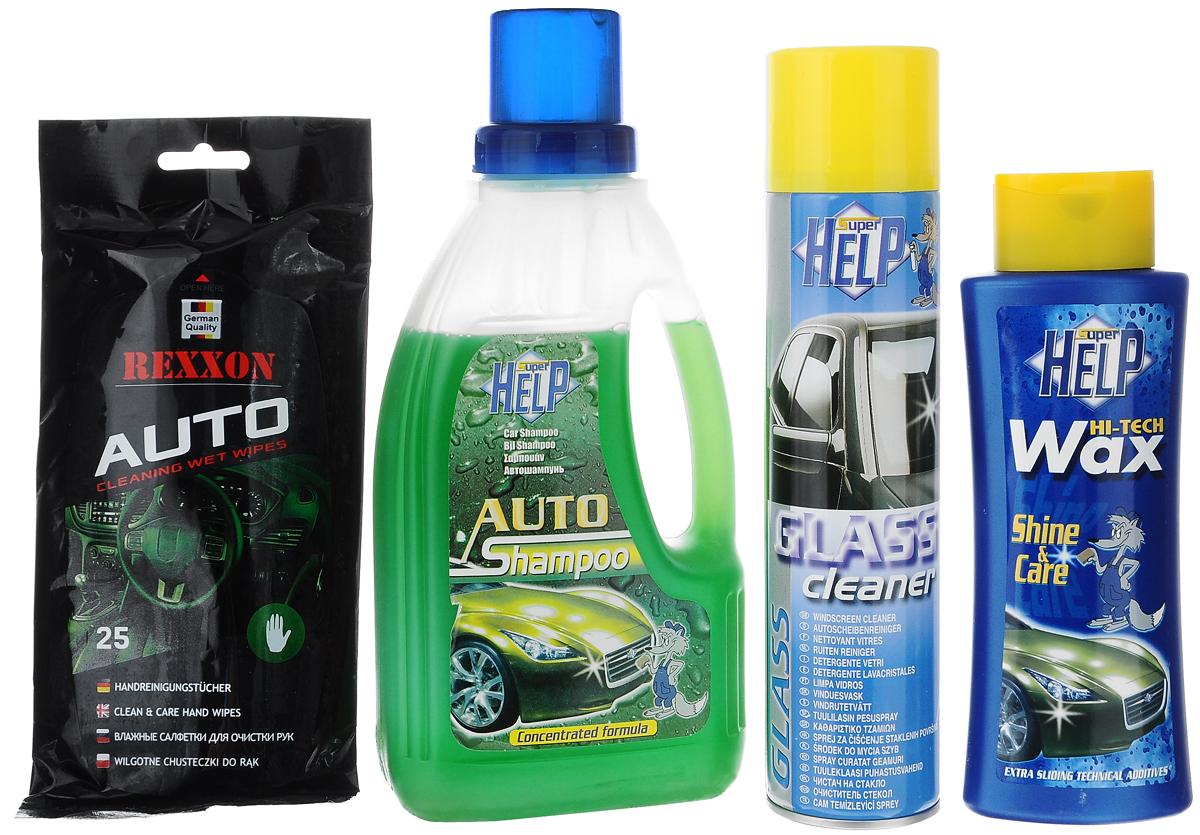Набор для ухода за автомобилем SuperHelp Экстраблеск, 4 предмета700300Набор для ухода за автомобилем SuperHelp Экстраблеск включает: 1. Автошампунь концентрированный (1 л). Обезжиривает и очищает поверхность автомобиля. 2. Жидкий воск (265 г). Очищает, придает блеск и обеспечивает длительную защиту лакокрасочного покрытия автомобиля. 3. Очиститель стекол (400 мл). Удаляет налет, пыль, следы насекомых, грязь и обезжиривает автомобильные стекла, зеркала и прочие стеклянные поверхности. Не оставляет разводов и следов на стекле. 4. Влажные салфетки для рук. Эффективно очищают руки от сильных загрязнений, возникших в результате контакта с автомобильным маслом и другими веществами. Защищают, увлажняют и питают кожу рук. Нейтрализуют запахи. Для хранения набора предусмотрена сумка, закрывающаяся на застежку-молнию. Товар сертифицирован.