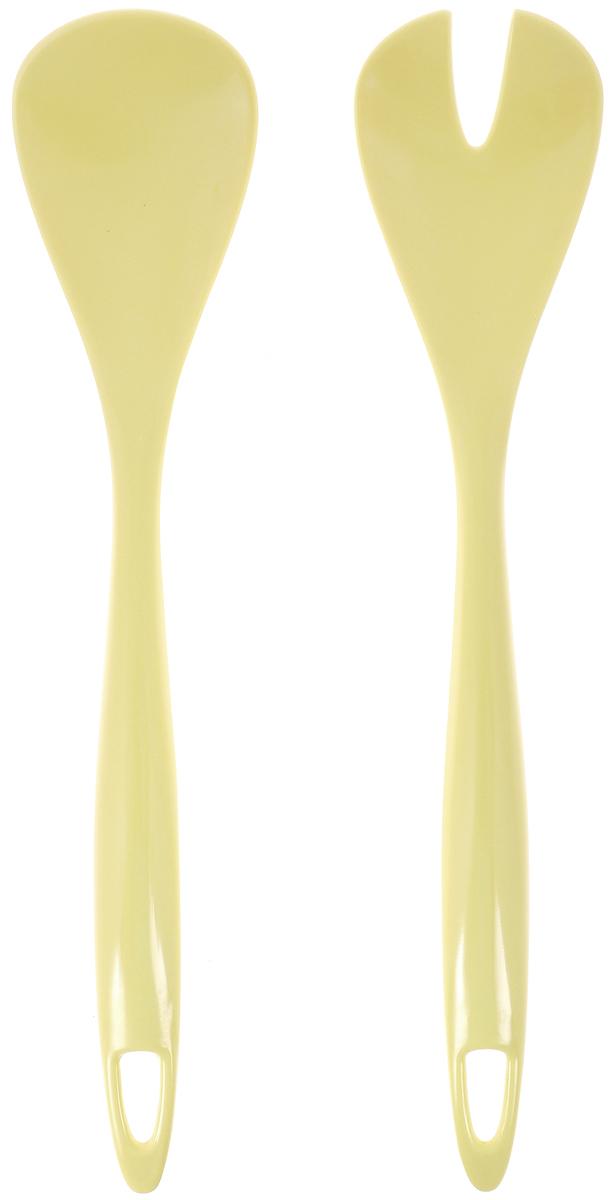 Набор для салата Tescoma Presto, цвет: желтый, 2 предмета420626_желтыйНабор для салата Tescoma Presto состоит из ложки и вилки. Изделия выполнены из первоклассного меламина. Ими удобно перемешивать и выкладывать на тарелки зеленые салаты, в которых много нежных листьев и трав. Если перемешивать их простой ложкой - легко помять зелень. Пользуясь же этим набором для смешивания, или как щипцами, чтобы положить салат на тарелку, вы никогда не изомнете салатные листья. Можно мыть в посудомоечной машине. Длина ложки/вилки: 31,5 см. Размер рабочей части ложки/вилки: 7 х 10 см.