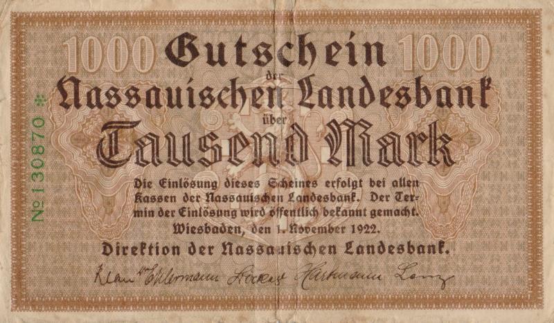 Банкнота-нотгельд номиналом 1000 марок. Германия. Висбаден. 1922 год791504Серия и номер банкноты могут отличаться от изображения.