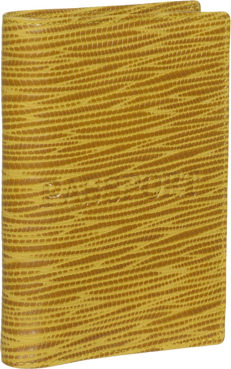 Обложка для паспорта женская Piero, цвет: желтый. ЖКГ1501250_30ЖКГ1501250_30Стильная и элегантная обложка для паспорта Piero выполнена из натуральной кожи с декоративным тиснением под рептилию. Обложка декорирована тисненой надписью Passport. Внутри расположены два прозрачных клапана, с помощью которых документ надежно зафиксируется. Обложка не только сохранит внешний вид документов, но и станет стильным аксессуаром, который подчеркнет ваш образ. Изделие упаковано в фирменную коробку с логотипом бренда. Такой функциональный аксессуар станет замечательным подарком человеку, ценящему качественные и модные вещи.