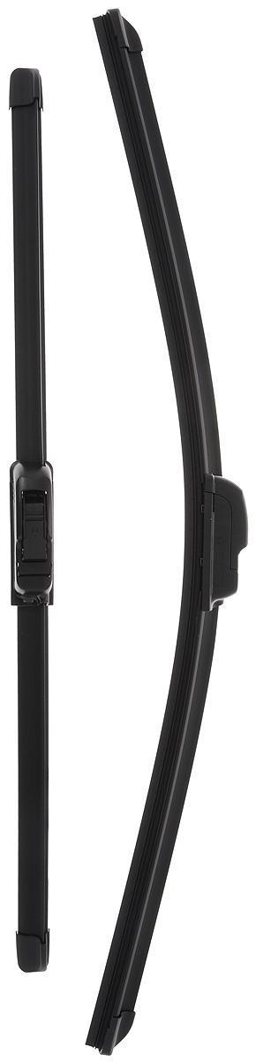 Щетка стеклоочистителя Bosch AR531S, бескаркасная, со спойлером, длина 45/53 см, 2 шт3397118901Комплект Bosch AR531S состоит из двух бескаркасных щеток разного размера. Щетки выполнены по современной технологии из высококачественных материалов и предназначены для установки на переднее стекло автомобиля. Отличаются высоким качеством исполнения и оптимально подходят для замены оригинальных щеток, установленных на конвейере. Обеспечивают качественную очистку стекла в любую погоду. AEROTWIN - серия бескаркасных щеток компании Bosch. Щетки имеют встроенный аэродинамический спойлер, что делает их эффективными на высоких скоростях, и изготавливаются из многокомпонентной резины с применением натурального каучука. Комплектация: 2 шт.