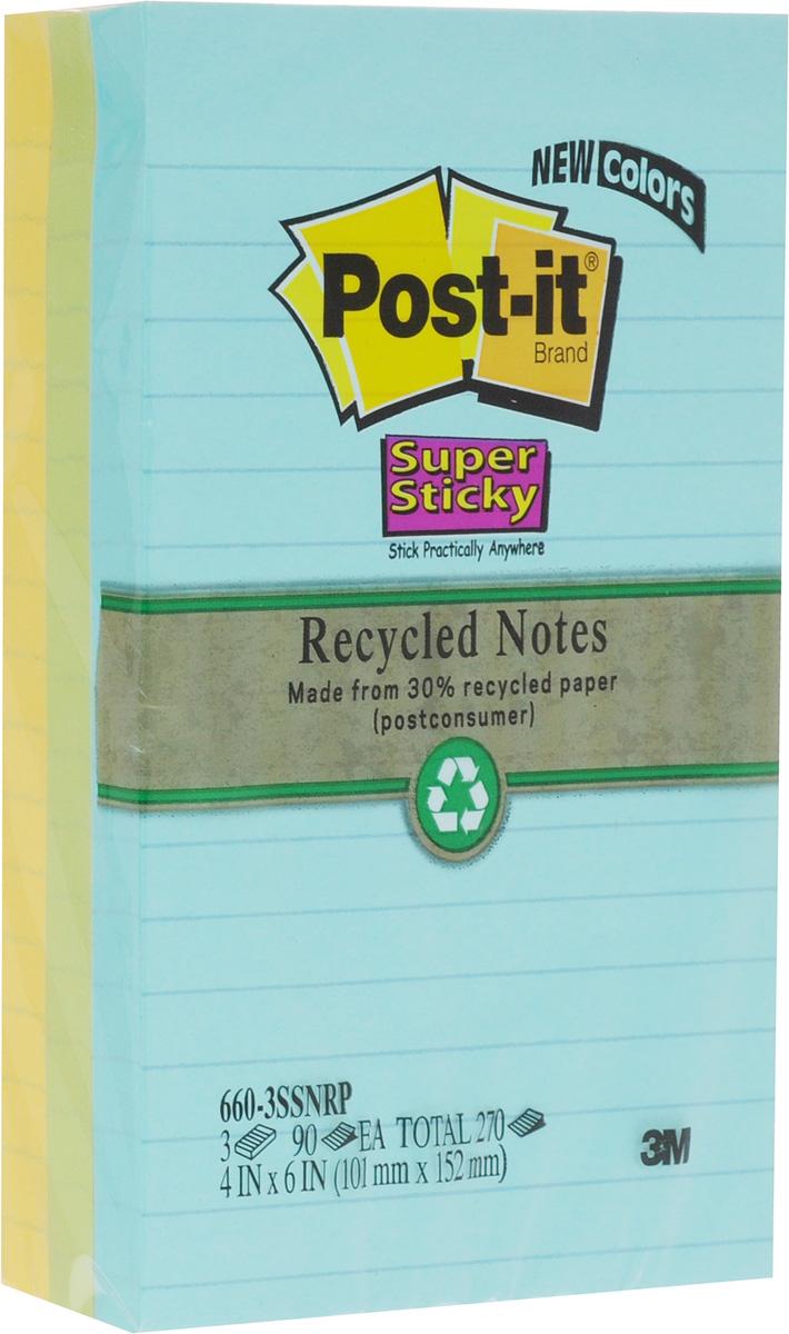 Post-it Набор бумаги для заметок с липким слоем 3 блока цвет желтый зеленый голубой660-3SSNRPНабор бумаги для заметок Post-it - эффективный офисный инструмент, позволяющий рационально организовать работу, используя разнообразные цвета для обозначения дел разной важности. Клеевой слой не высыхает и выдерживает многократное приклеивание к большинству поверхностей. Не нужно беспокоиться, что бумага быстро закончится - в наборе 3 блока по 90 листов. Листы выполнены из бумаги в линейку трех цветов - голубого, зеленого, желтого.