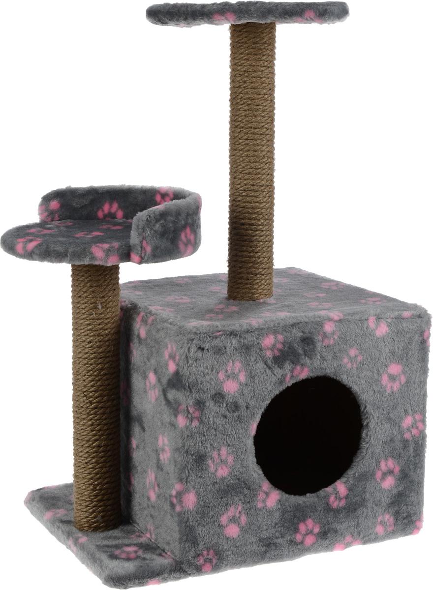 Игровой комплекс для кошек Меридиан, с домиком и когтеточкой, цвет: серый, розовый, бежевый, 35 х 45 х 75 смД130 Ла_серый, розовыйИгровой комплекс для кошек Меридиан выполнен из высококачественного ДВП и ДСП и обтянут искусственным мехом. Изделие предназначено для кошек. Ваш домашний питомец будет с удовольствием точить когти о специальные столбики, изготовленные из джута. А отдохнуть он сможет либо на полках разной высоты, либо в расположенном внизу домике. Общий размер: 35 х 45 х 75 см. Размер домика: 46 х 37 х 33 см. Высота полок (от пола): 74 см, 45 см. Размер полок: 27 х 27 см, 26 х 26 см.