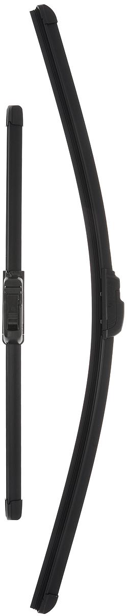 Щетка стеклоочистителя Bosch AR601S, бескаркасная, со спойлером, длина 40/60 см, 2 шт3397118907Комплект Bosch AR601S состоит из двух бескаркасных щеток разного размера. Щетки выполнены по современной технологии из высококачественных материалов и предназначены для установки на переднее стекло автомобиля. Отличаются высоким качеством исполнения и оптимально подходят для замены оригинальных щеток, установленных на конвейере. Обеспечивают качественную очистку стекла в любую погоду. AEROTWIN - серия бескаркасных щеток компании Bosch. Щетки имеют встроенный аэродинамический спойлер, что делает их эффективными на высоких скоростях, и изготавливаются из многокомпонентной резины с применением натурального каучука. Комплектация: 2 шт.
