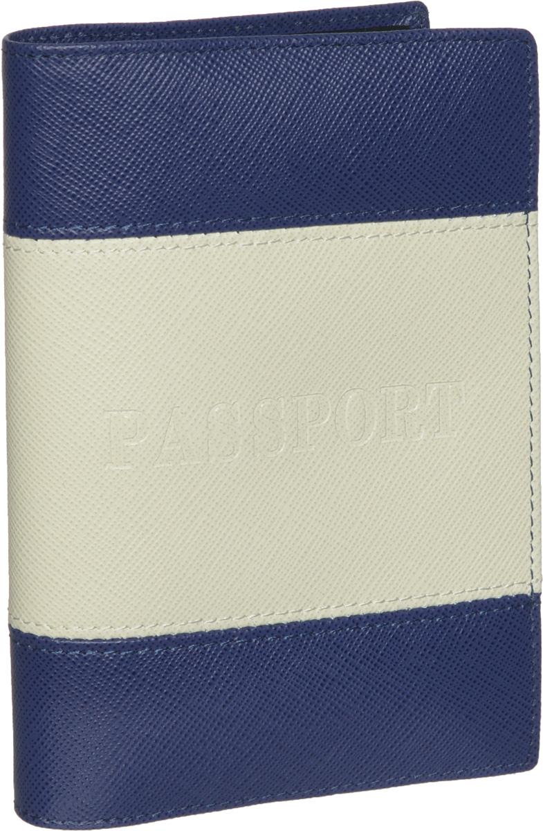 Обложка для паспорта Piero, цвет: синий, светло-бежевый. 42М6_90039_50_1402П_5442М6_90039_50_1402П_54Обложка для паспорта Piero из коллекции Elegant bleu выполнена из натуральной кожи с фактурой под сафьян, оформлена тиснением Passport на лицевой стороне и тиснением логотипа бренда на задней стенке. Изделие дополнено тканевой подкладкой. На внутреннем развороте расположены два вертикальных кармана из прозрачного пластика. Стильная и функциональная обложка для паспорта не только поможет сохранить внешний вид ваших документов, но и станет стильным аксессуаром, идеально подходящим вашему образу. Изделие упаковано в фирменную коробку с названием бренда. Обложка для паспорта стильного дизайна может быть достойным и оригинальным подарком.
