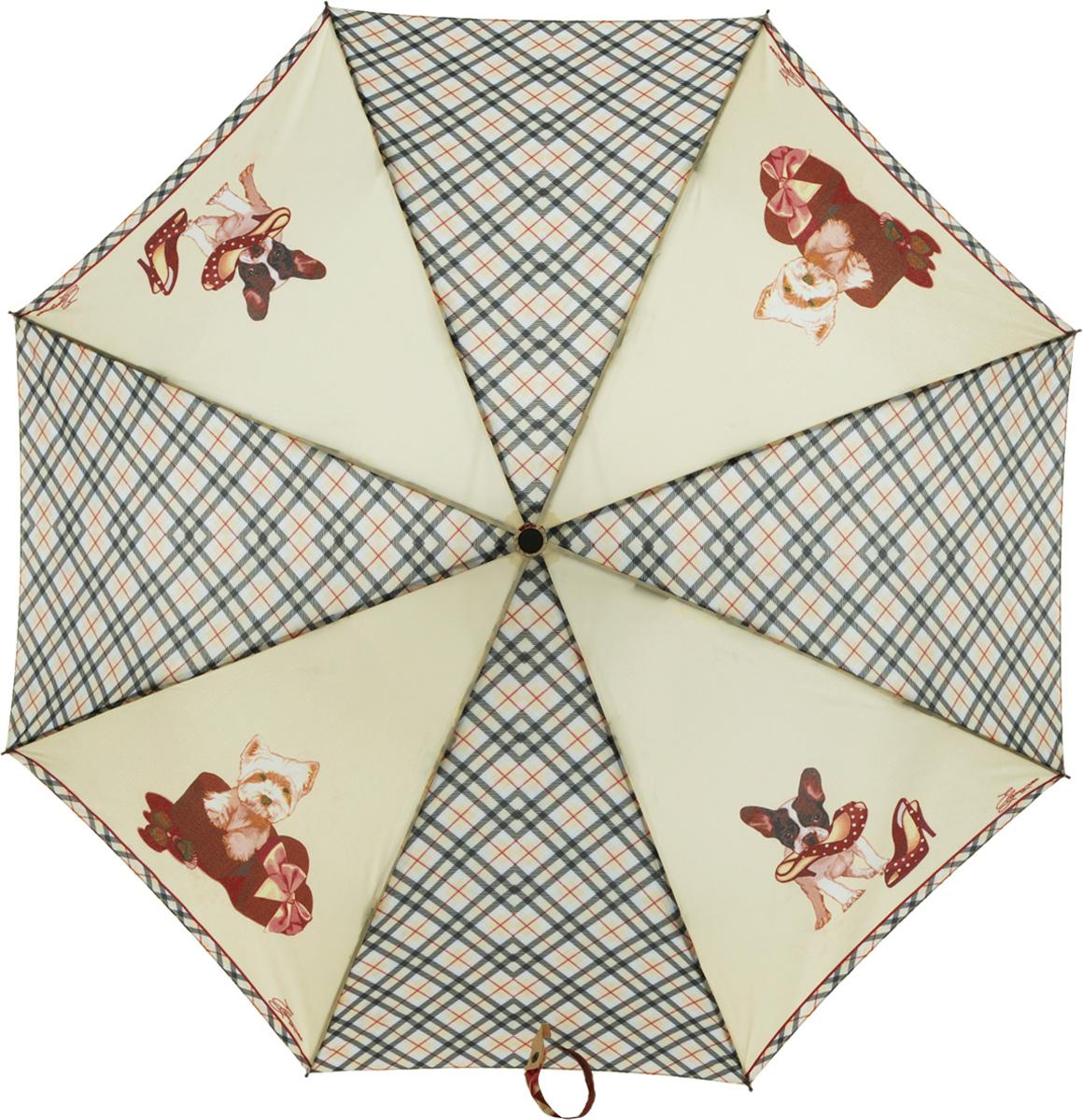 Зонт женский Eleganzza, автомат, 3 сложения, цвет: бежевый. A3-05-0260A3-05-0260Женский зонт-автомат ELEGANZZA. Материал купола 100% полиэстер, эпонж. Материал каркаса: сталь + фибергласс. Материал ручки: пластик. Длина изделия - 28 см, диаметр купола - 98 см.