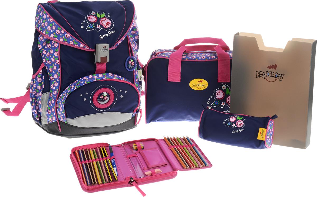 DerDieDas Ранец школьный Розы с наполнением цвет синий розовый 5 предметов000405-59Школьные ранцы DerDieDas - немецкий стандарт качества товаров для учеников. Ранец состоит из одного вместительного отделения, которое закрывается на шнурок и клапан с удобным пластиковым замком. Внутри ранец имеет сквозную перегородку для тетрадей, или учебников и бейджик в пластиковом кармане на отдельном шнурке. Снаружи рюкзак декорирован объемными элементами и вышивкой с розами. Лицевая часть дополнена накладным карманом на застежке-молнии. По бокам расположены два открытых кармана на резинке, имеются светоотражающие вставки. Рюкзак дополнен брелоком в виде с изображением роз. Ранец имеет ортопедическую спинку со специальными мягкими подушечками и специальные прорези, которые позволяют изменять расположение лямок на спинке ранца (поднимать или опускать их) в зависимости от роста ребенка. Ранец укомплектован ремнями: нагрудным и поясным. Впитывающий влагу и пропускающий воздух материал на спинке и внутренней стороне лямок позволяет спине дышать. Полиэстер...