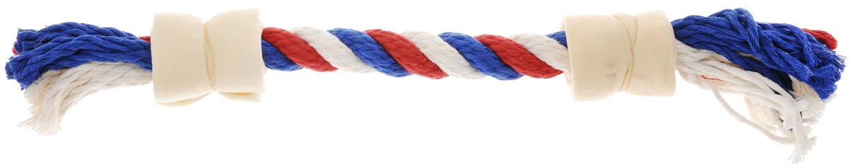 """Игрушка-лакомство для собак """"Titbit"""", канат с двумя роллами из говяжьей кожи, цвет: белый, красный, синий 3665_белый,красный,синий"""