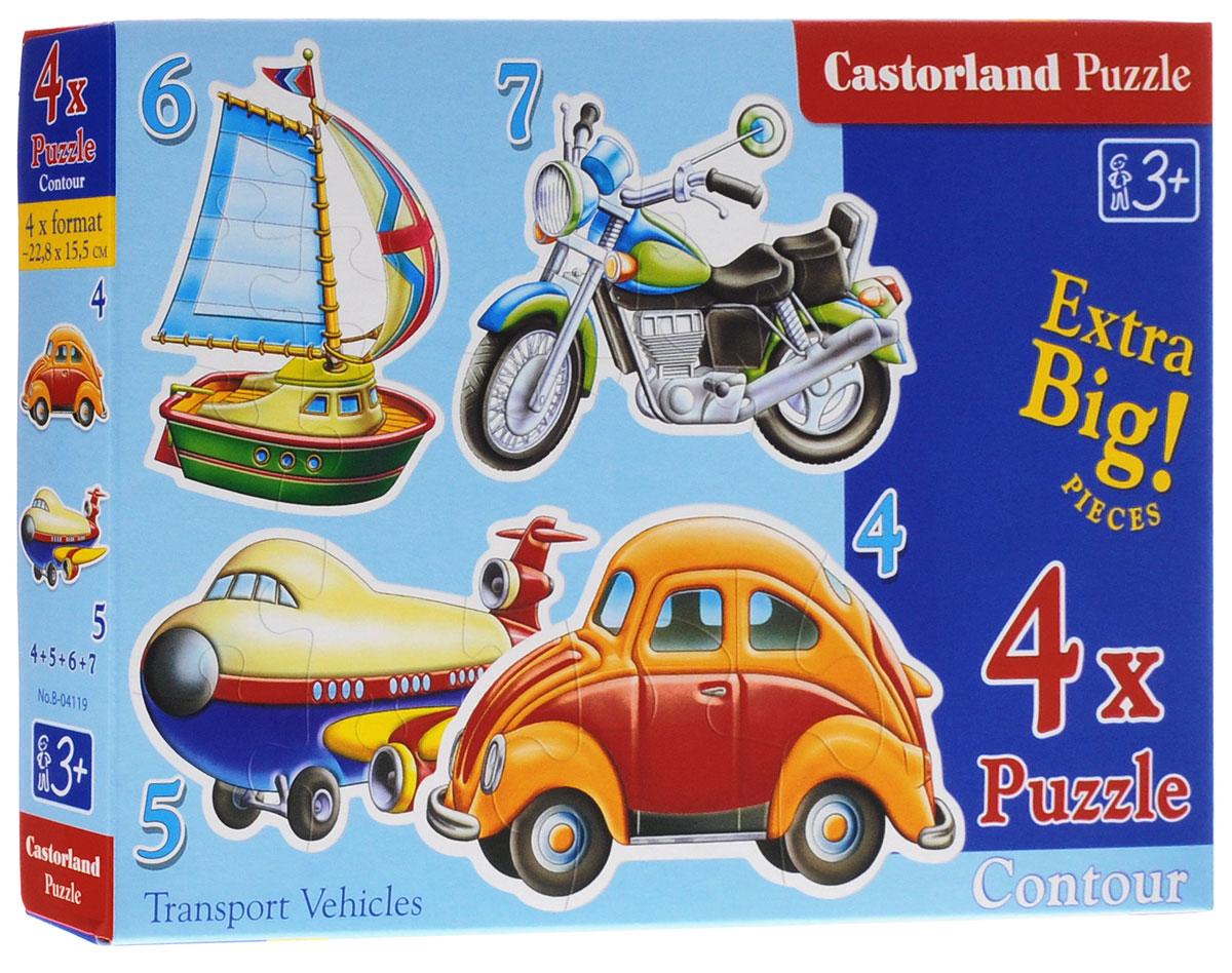 Castorland Пазл для малышей Транспортные средства 4 в 1В-04119Пазл для малышей Castorland Транспортные средства придется по душе вашему ребенку. В комплект входят четыре пазла с изображением различных видов транспорта - автомобиля, самолета, мотоцикла, парусника. Пазлы включают в себя 4, 5, 6 и 7 элементов. Пазлы - замечательная развивающая игра для детей. Собирание пазла развивает у ребенка мелкую моторику рук, тренирует наблюдательность, логическое мышление, знакомит с окружающим миром, с цветом и разнообразными формами, учит усидчивости и терпению, аккуратности и вниманию.