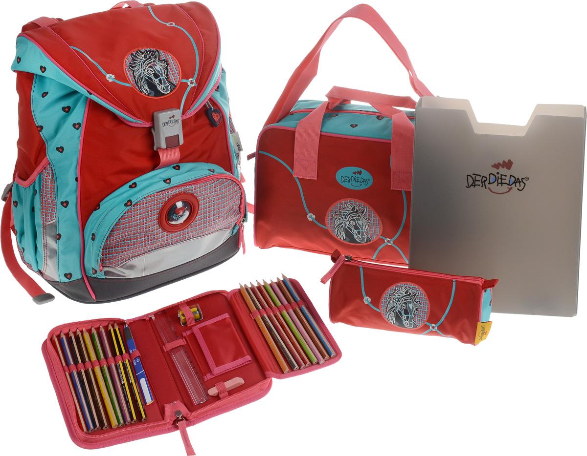 DerDieDas Ранец школьный Бэл Ами с наполнением 5 предметов цвет красный зеленый000405-01Школьные ранцы DerDieDas - немецкий стандарт качества товаров для учеников. Ранец состоит из одного вместительного отделения, которое закрывается на шнурок и клапан с удобным пластиковым замком. Внутри ранец имеет сквозную перегородку для тетрадей, или учебников и прозрачный пластиковый кармашек для визитки с личными данными владельца на текстильном шнурке. Снаружи рюкзак декорирован объемными элементами и вышивкой. Лицевая часть дополнена накладным карманом на застежке-молнии. По бокам расположены два открытых кармана на резинке, имеются светоотражающие вставки. Рюкзак дополнен оригинальным брелоком. Ранец имеет ортопедическую спинку со специальными мягкими подушечками и специальные прорези, которые позволяют изменять расположение лямок на спинке ранца (поднимать или опускать их) в зависимости от роста ребенка. Ранец укомплектован ремнями: нагрудным и поясным. Впитывающий влагу и пропускающий воздух материал на спинке и внутренней стороне лямок позволяет спине дышать. ...