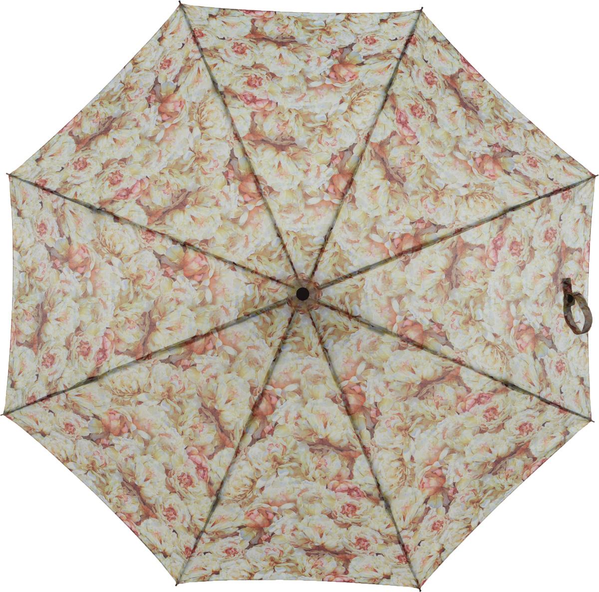 Зонт женский Eleganzza, автомат, 3 сложения, цвет: бежевый. A3-05-0217LA3-05-0217LЖенский зонт-автомат торговой марки ELEGANZZA с каркасом Smart. Купол: 100% полиэстер. Каркас: стержень-сталь, спицы-аллюминий + фибергласс. Увеличенный диаметр купола - 105 см. Система Smart, не позволяет стержню при сложении вылететь обратно, это облегчает сложение зонта! При сложении есть характерный звук-треск, как трещетка. Примечание: зонт не откроется с кнопки если его не закрыть до щелчка!