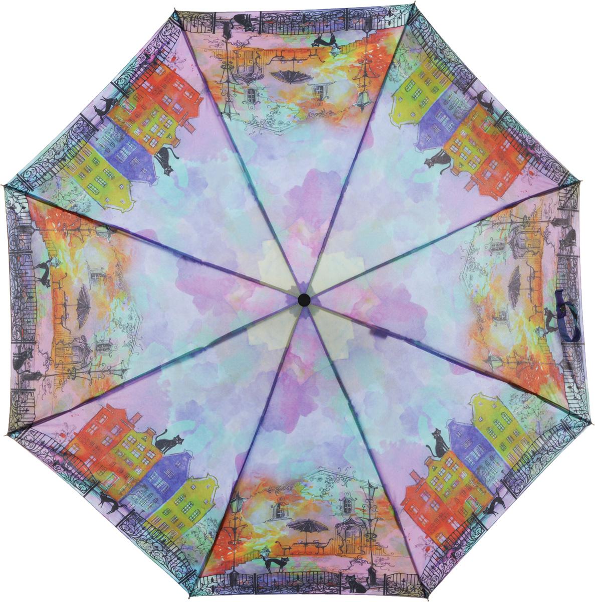 Зонт женский Eleganzza, автомат, 3 сложения, цвет: фиолетовый. A3-05-0305LSA3-05-0305LSЖенский зонт-автомат торговой марки ELEGANZZA с каркасом Smart, который позволяет без особых усилий складывать зонт, не позволяя стержню вылетать обратно. Купол: 100% полиэстер, эпонж. Материал каркаса: сталь + алюминий + фибергласс. Материал ручки: пластик. Длина изделия - 30 см. Диаметр купола - 105 см. Система Smart, не позволяет стержню при сложении вылететь обратно, это облегчает сложение зонта! При сложении есть характерный звук-треск, как трещетка. Примечание: зонт не откроется с кнопки если его не закрыть до щелчка!