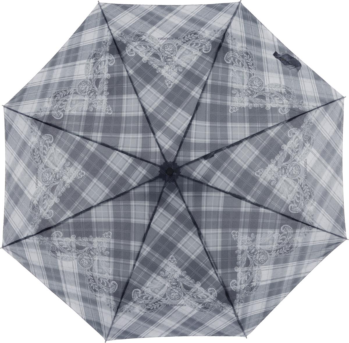 Зонт женский Eleganzza, автомат, 3 сложения, цвет: черный. A3-05-0279LSA3-05-0279LSЖенский зонт-автомат торговой марки ELEGANZZA с каркасом Smart, который позволяет без особых усилий складывать зонт, не позволяя стержню вылетать обратно. Купол: 100% полиэстер, эпонж. Материал каркаса: сталь + алюминий + фибергласс. Материал ручки: пластик. Длина изделия - 30 см. Диаметр купола - 105 см. Система Smart, не позволяет стержню при сложении вылететь обратно, это облегчает сложение зонта! При сложении есть характерный звук-треск, как трещетка. Примечание: зонт не откроется с кнопки если его не закрыть до щелчка!