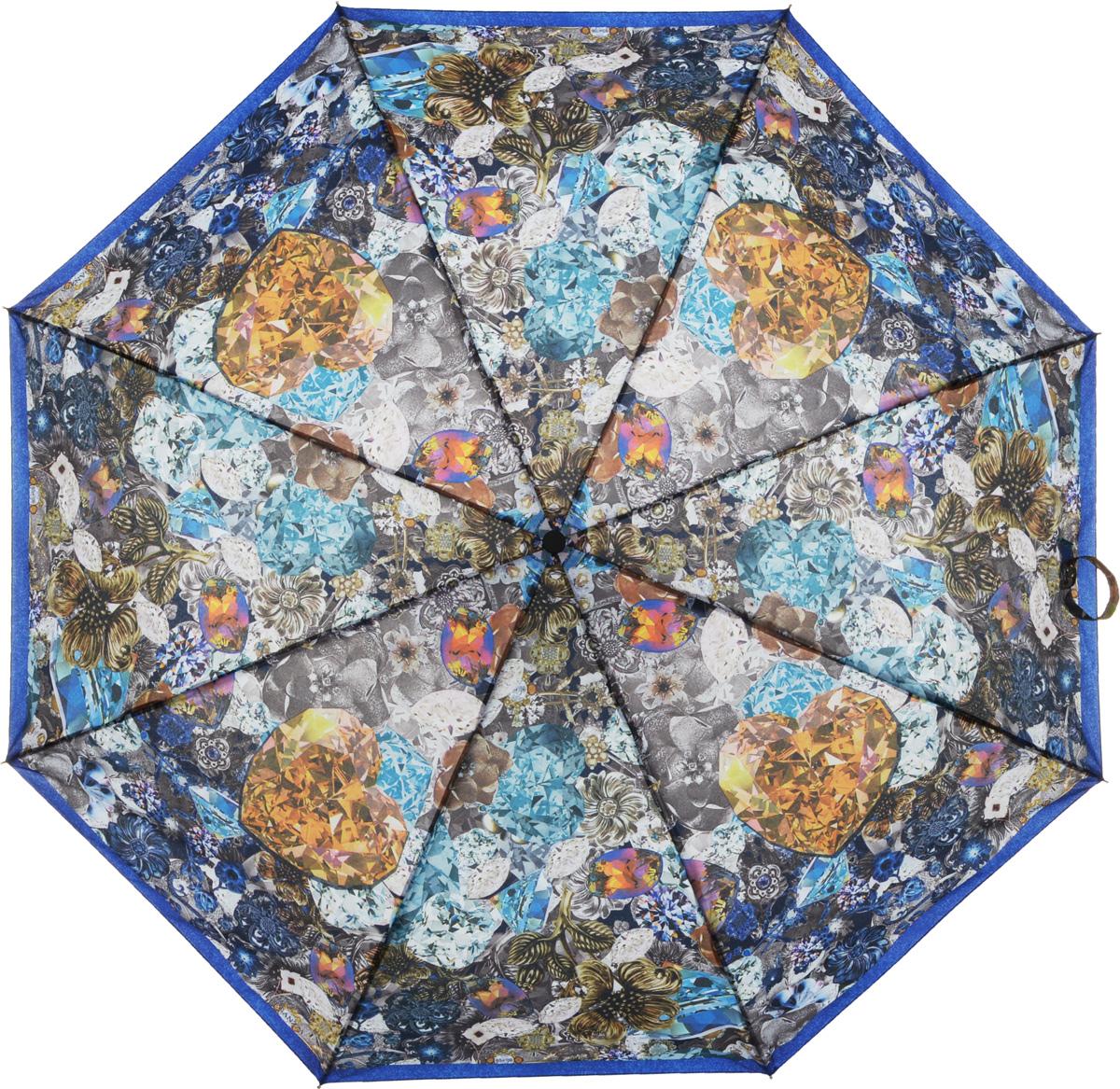 Зонт женский Eleganzza, автомат, 3 сложения, цвет: синий. A3-05-0308LSA3-05-0308LSЖенский зонт-автомат торговой марки ELEGANZZA с каркасом Smart, который позволяет без особых усилий складывать зонт, не позволяя стержню вылетать обратно. Купол: 100% полиэстер, эпонж. Материал каркаса: сталь + алюминий + фибергласс. Материал ручки: пластик. Длина изделия - 30 см. Диаметр купола - 105 см. Система Smart, не позволяет стержню при сложении вылететь обратно, это облегчает сложение зонта! При сложении есть характерный звук-треск, как трещетка. Примечание: зонт не откроется с кнопки если его не закрыть до щелчка!