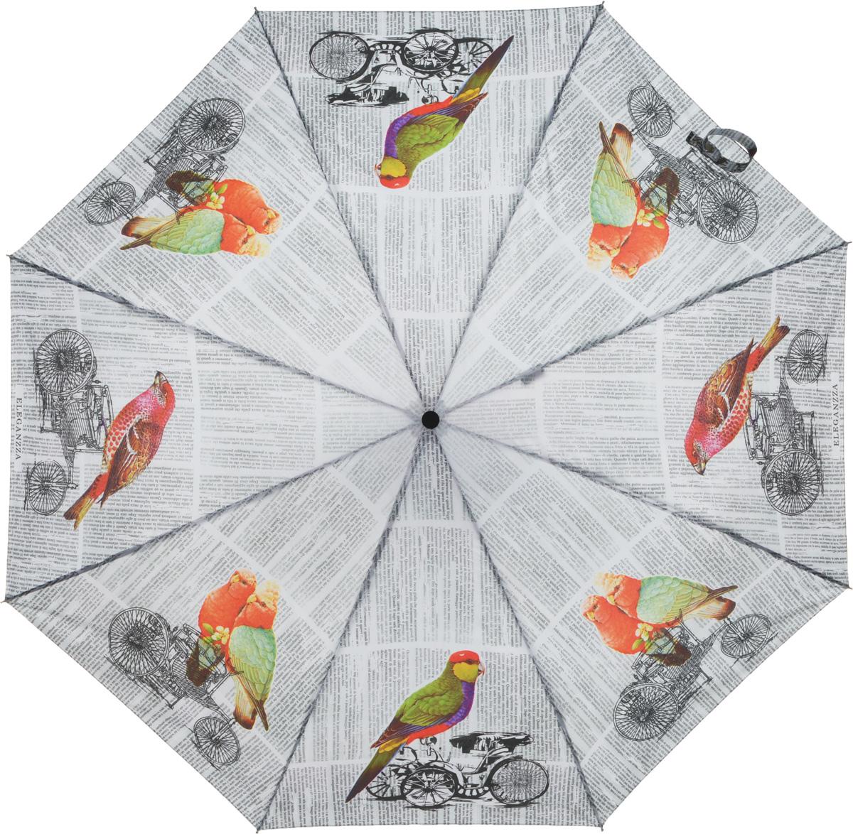 Зонт женский Eleganzza, автомат, 3 сложения, цвет: белый. A3-05-0239LSA3-05-0239LSЖенский зонт-автомат торговой марки ELEGANZZA с каркасом Smart, который позволяет без особых усилий складывать зонт, не позволяя стержню вылетать обратно. Купол: 100% полиэстер, эпонж. Материал каркаса: сталь + алюминий + фибергласс. Материал ручки: пластик. Длина изделия - 30 см. Диаметр купола - 105 см. Система Smart, не позволяет стержню при сложении вылететь обратно, это облегчает сложение зонта! При сложении есть характерный звук-треск, как трещетка. Примечание: зонт не откроется с кнопки если его не закрыть до щелчка!